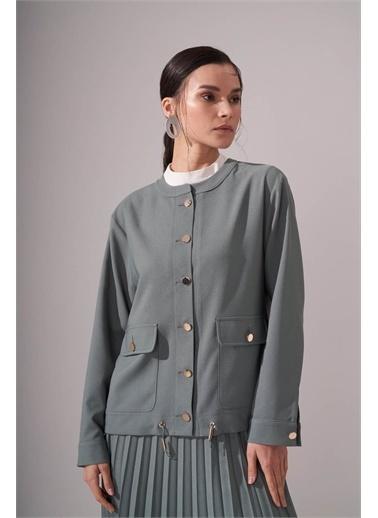 Mizalle Düğmeli Krep Çağla Ceket Yeşil